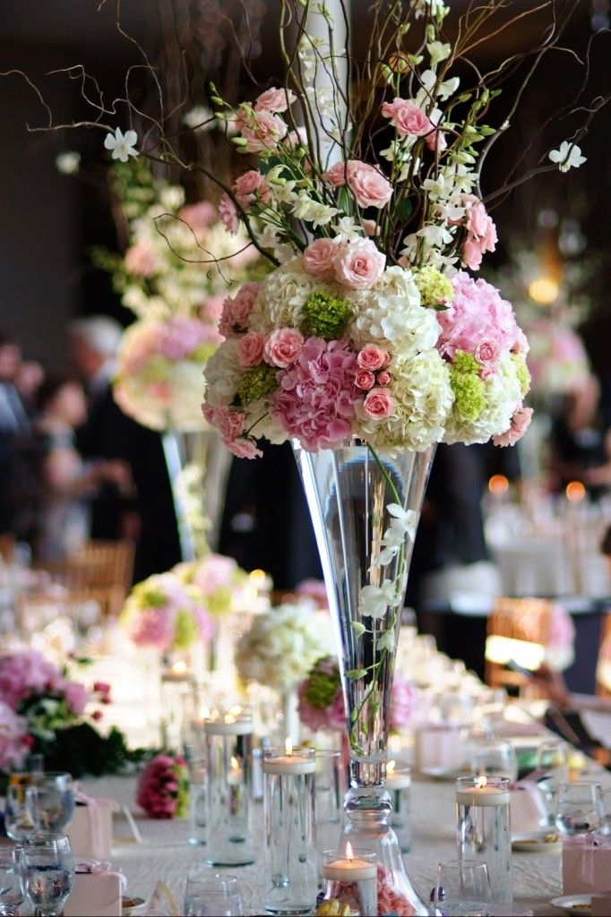 Pink & Green Centerpieces by MichaelAngelos Photo by Peter Thurin