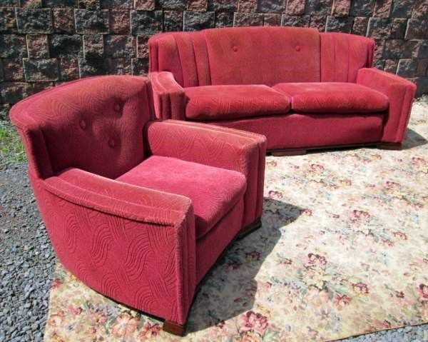 Vintage 1930s Art Deco Home Sculpted Living Room Sofa & Chair ...