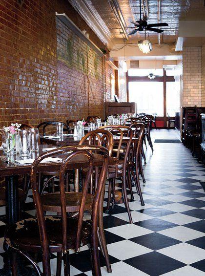 Restaurant Furniture Kansas City : Black and white tile floors brick walls a tin ceiling