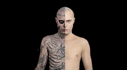 Zombie boy rick genest natural and with dermablend for Dermablend tattoo cover up video
