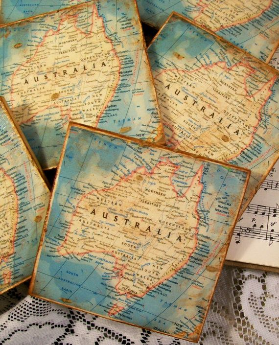 Map coasters old world map of australia stained antiqued map coaster map coasters old world map of australia stained antiqued map coaster set of 4 decoupage map gumiabroncs Gallery