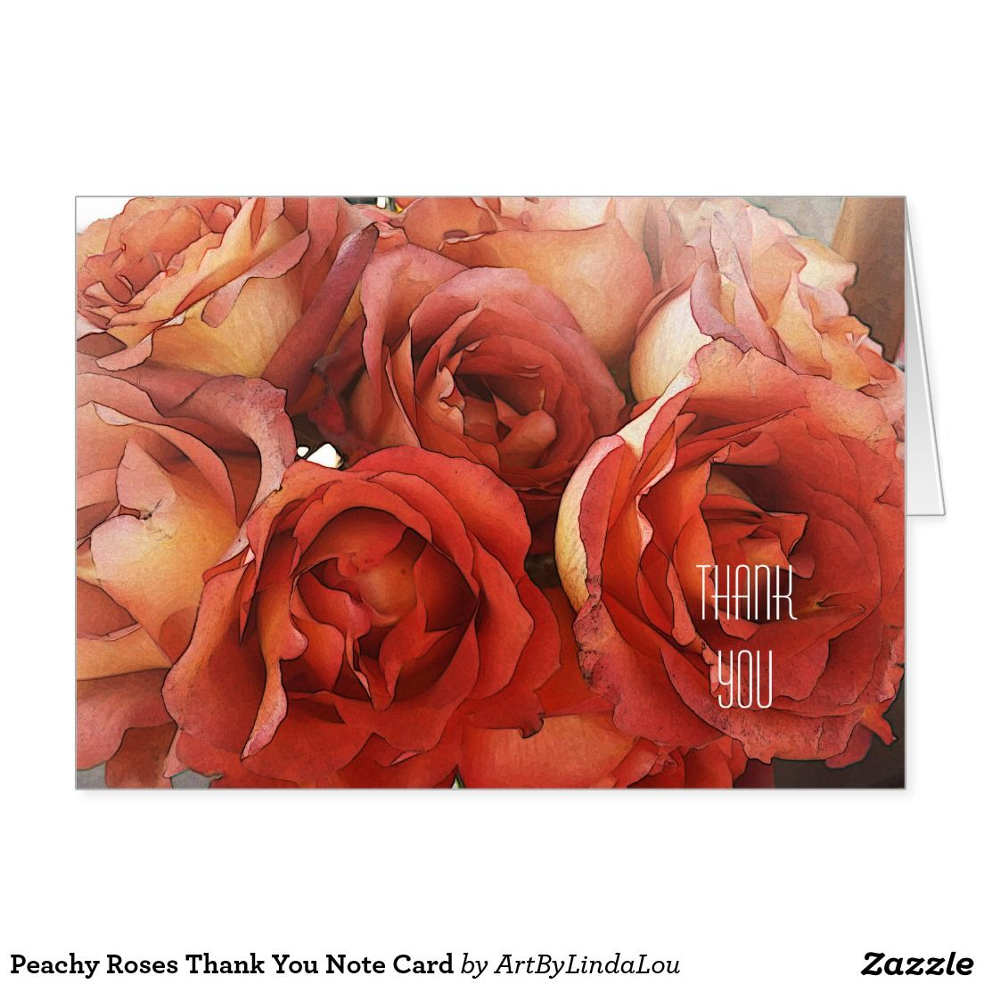 Peachy Roses Thank You Note Card | Note cards, Note and Rose