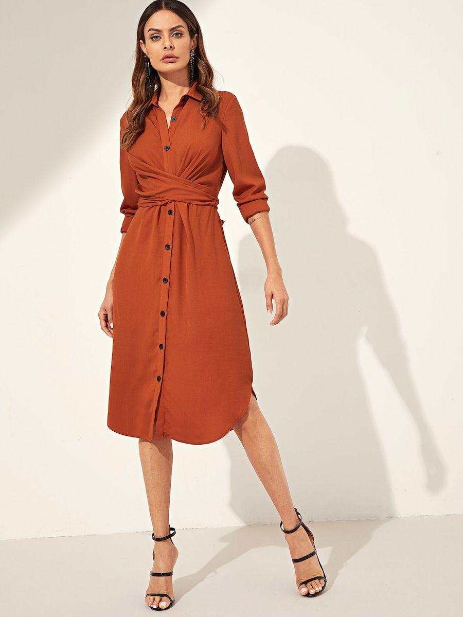 787f366afa Knot Back Curved Hem Utility Shirt Dress -SHEIN(SHEINSIDE) | Clothes ...