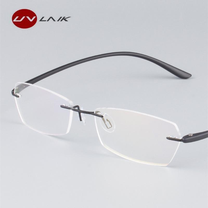 Fashion frameless myopia glasses men women tr90 ultra