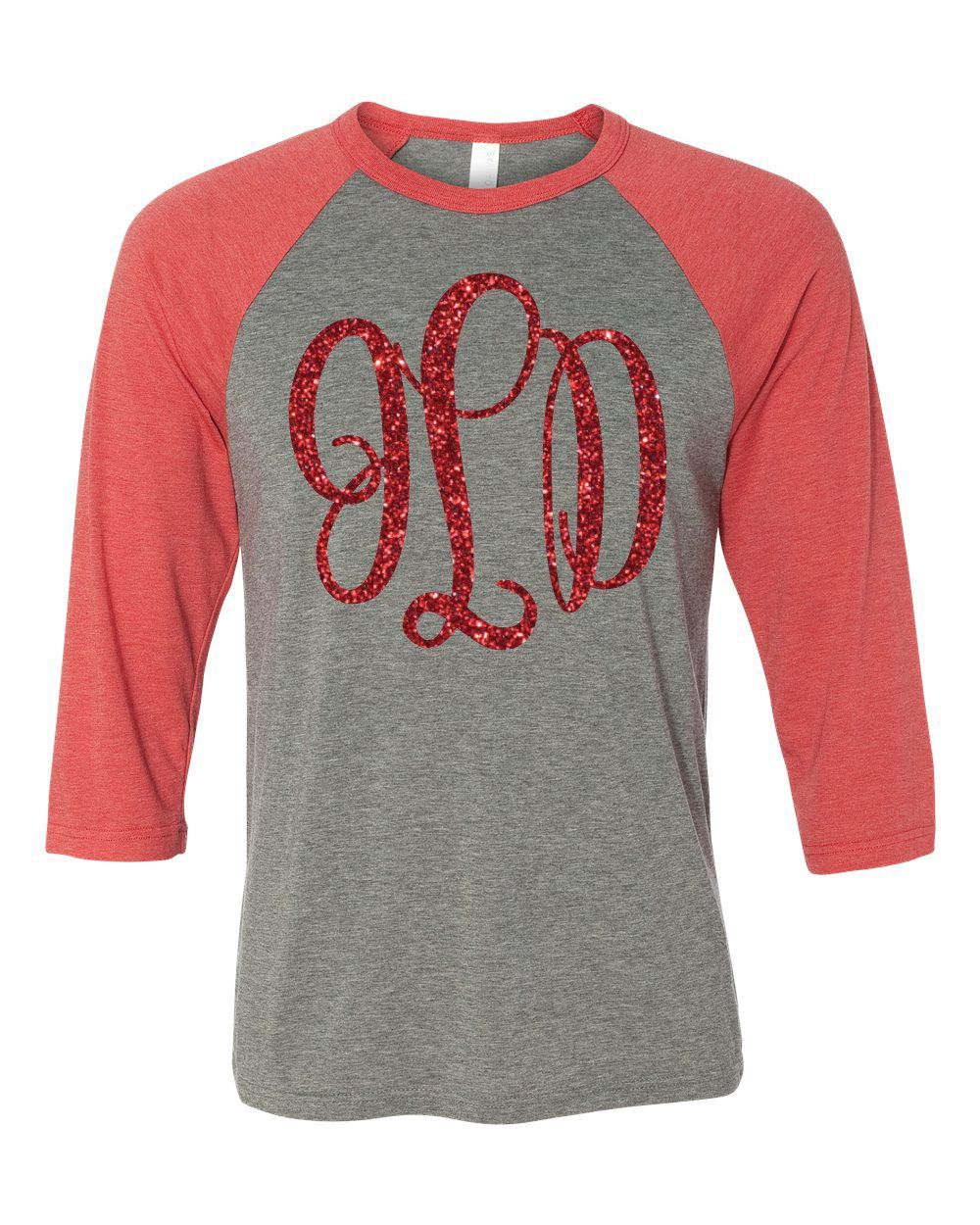 Includes Monogram On The Front Of Garment In Your Choice Of 24 Glitter Colors Monograms Are Great But In Glitter Baseball Monogram Monogram Shirts Monogram