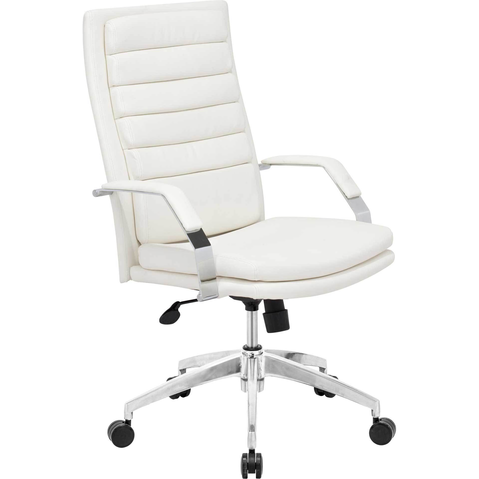 Dylan Office Chair White Adjustable Office Chair Brown Leather