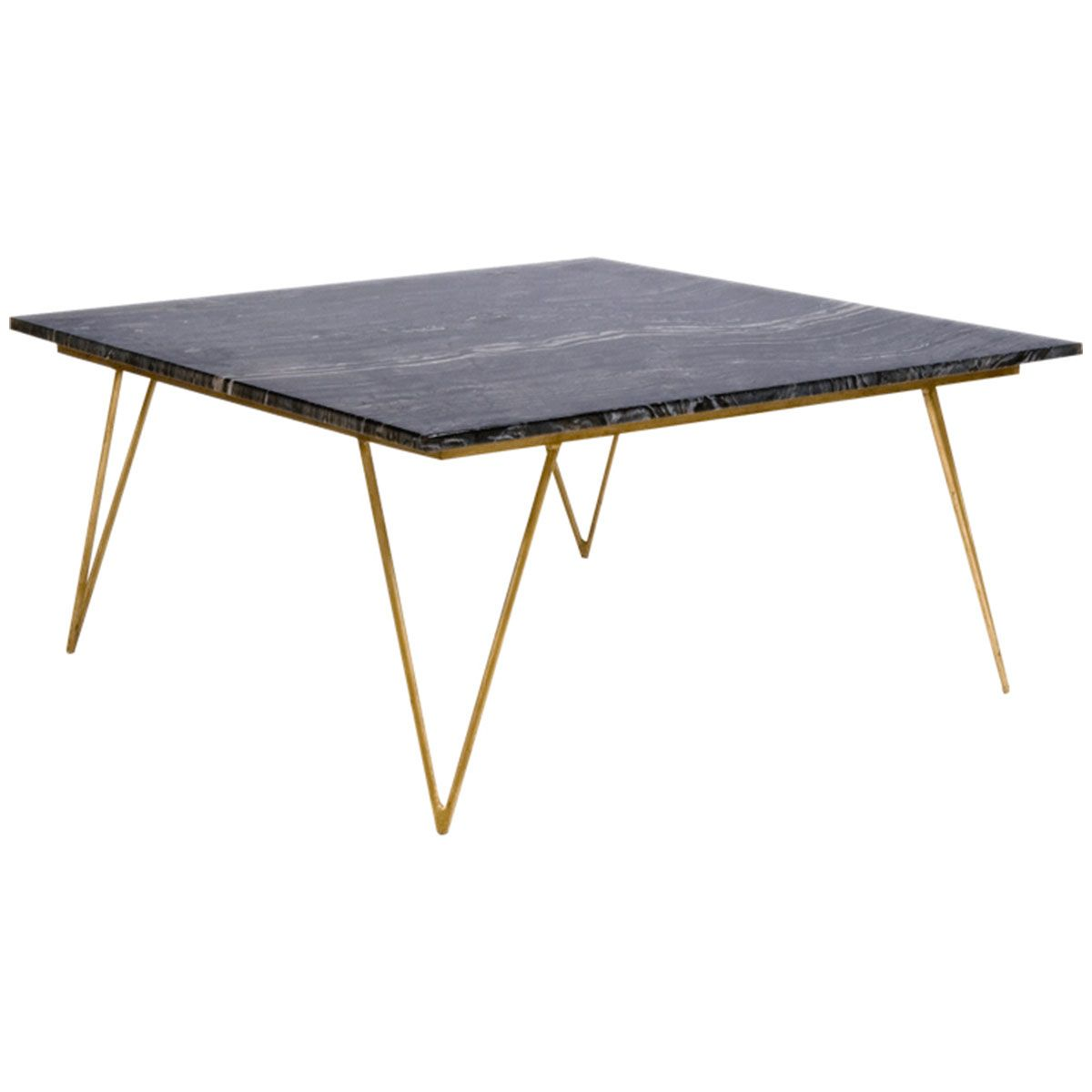 Worlds Away Hairpin Leg Gold Leaf Coffee Table With Black Marble Top Neal Gb Marble Top Coffee Table Black Marble Coffee Table Gold Coffee Table
