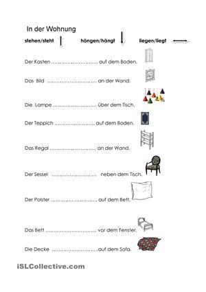 stehen h ngen liegen bildung deutsch lernen deutsch unterricht und pr positionen. Black Bedroom Furniture Sets. Home Design Ideas