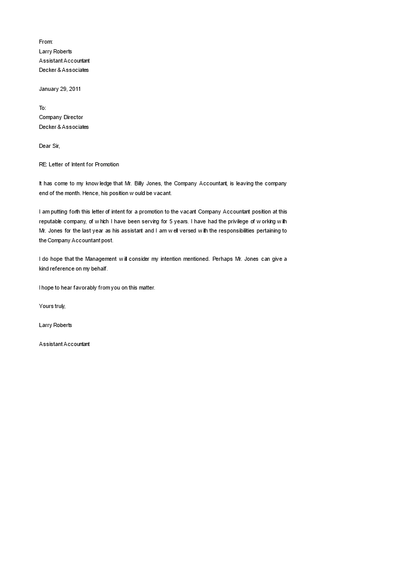 Letter of intent job promotion how to formally promote for Letter of intent to hire template