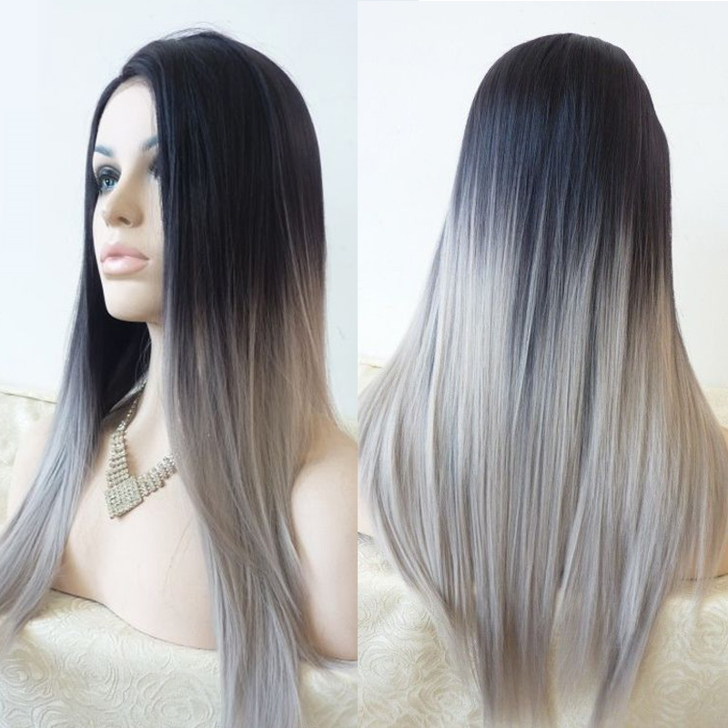 41.82$  Buy now - http://alijjr.worldwells.pw/go.php?t=32695419807 - Top Quality Silver Grey ombre wig long straight synthetic lace front wig heat resistant fiber wig for white women 41.82$