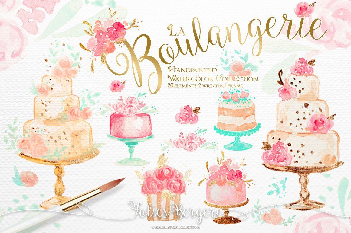 Bakery Clipart Wedding Cakes Clipart Birthday Clip Art Watercolor