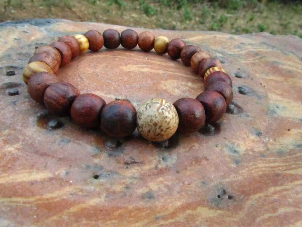 Men's Jasper Gemstone Beaded Bracelet with Coconut & Wooden Beads Ethnic Hippie