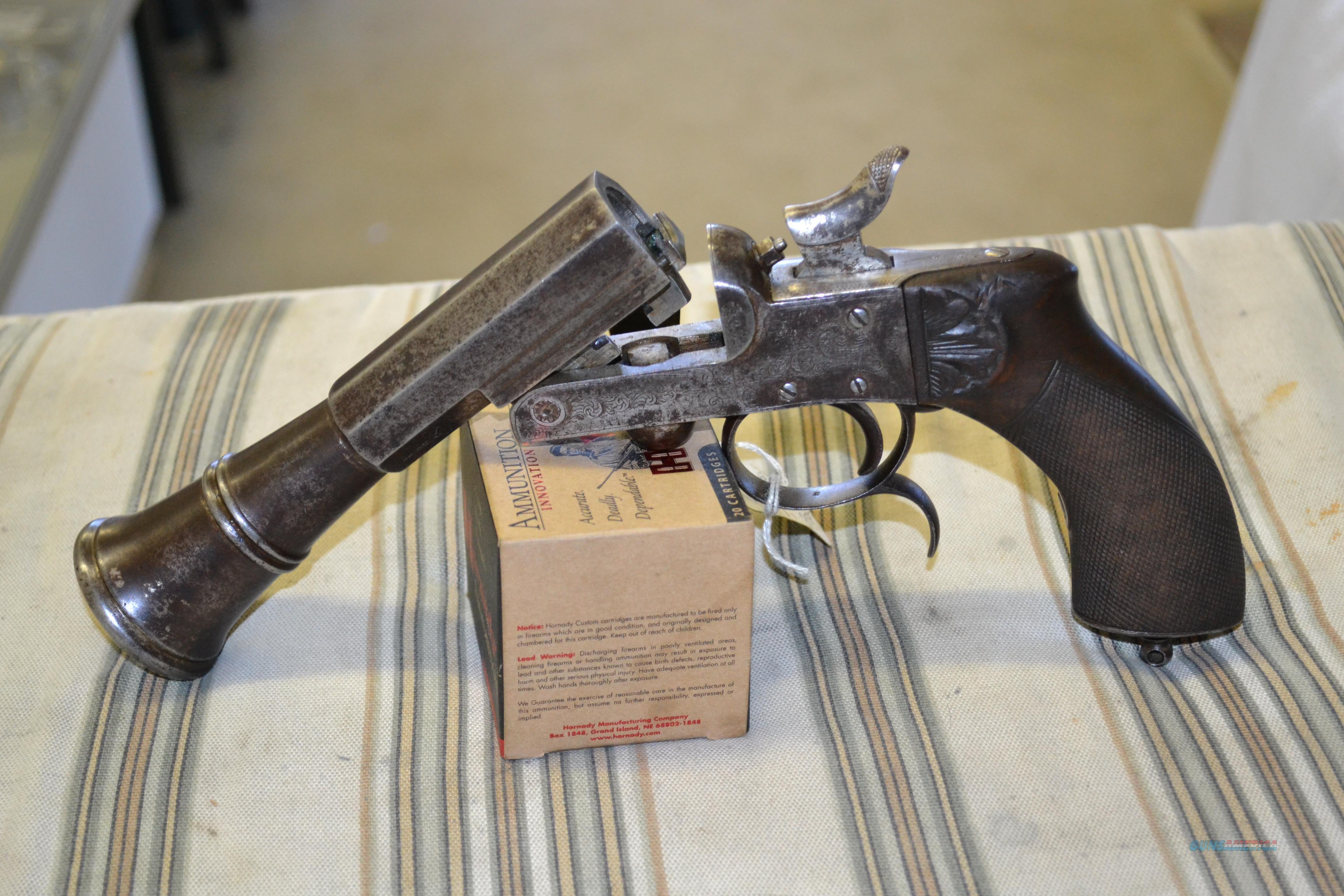 Double pistol handgun revolver gun display case cabinet rack shadowbox - Circa 1852 To 1899 Belgian Pinfire Breech Loading Rifled Blunderbuss Pistol Guns Pistols Antique
