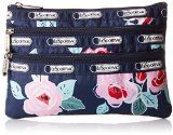 LeSportsac 3 Zip Case Cosmetic Bag, Navy Rose, One Size
