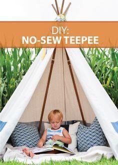 diy no sew teepee sewing pinterest kinderzimmer garten und n hen. Black Bedroom Furniture Sets. Home Design Ideas