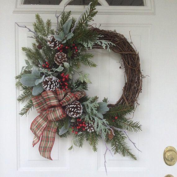 Photo of Winter Wreath-Christmas Wreath-Christmas Decor-Holiday Wreath for Door-Frosty Evergreen Wreath-Snowy Wreath-Natural Wreath