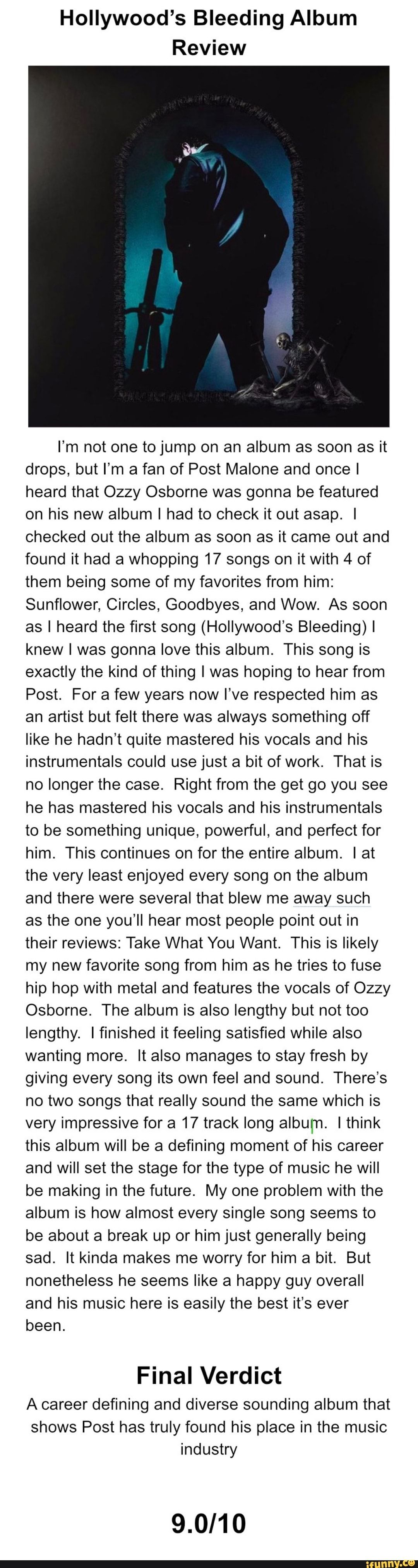 Hollywood's Bleeding Album Review I'm not one tojump on an