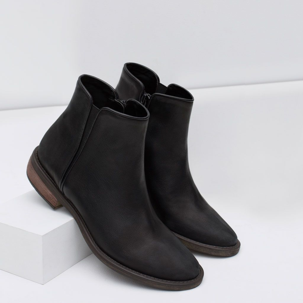 ZARA - COLLECTION AW15 - FLAT LEATHER BOOTIES   Wish List - Topshop ... ef3ea0fd05