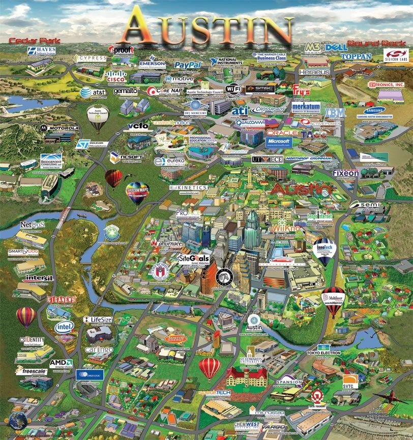 Austin map of company location more MAPS Pinterest Austin map