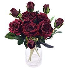 Artificial Individual Silk Flowers Real Touch Dark Red Burgundy