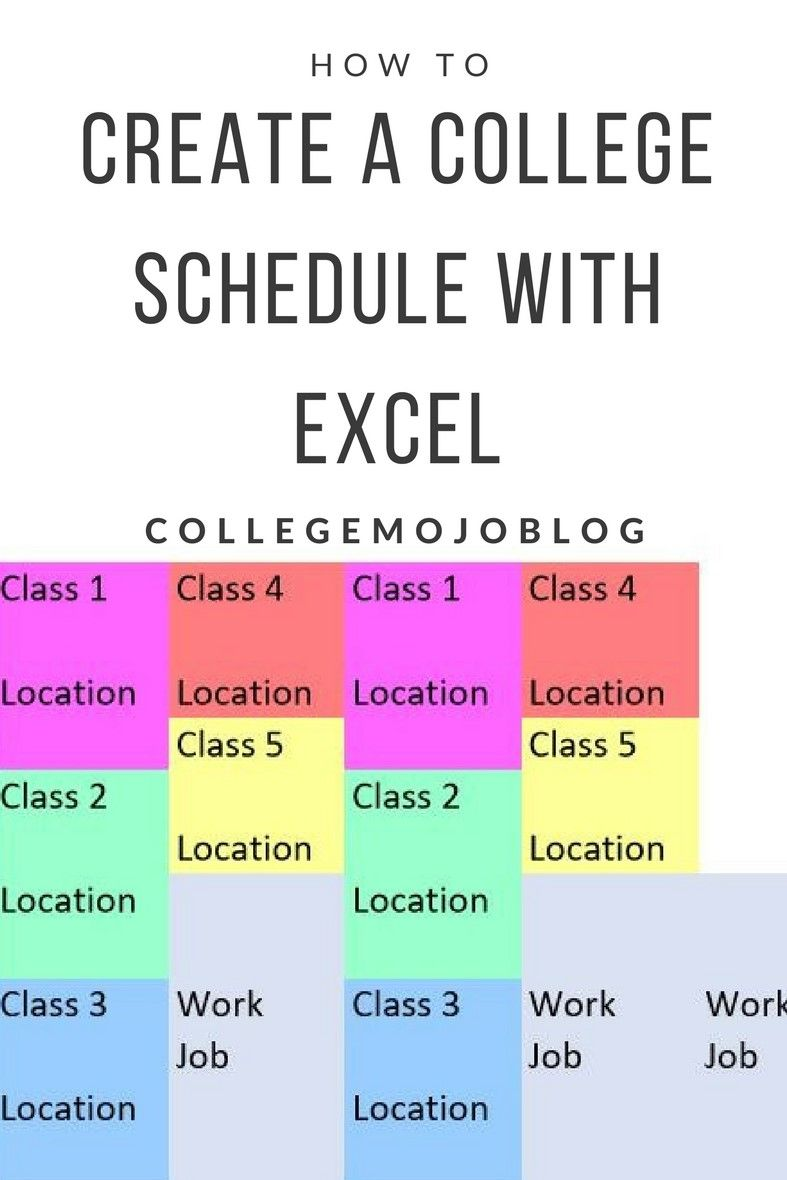 how to create a college schedule with excel college tips