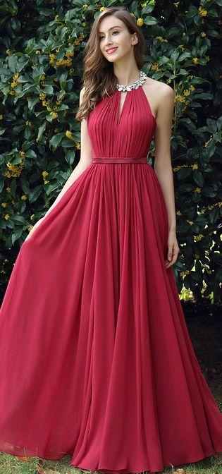 806b83c96b Burgundy Pleated Halter Formal Evening Dress (00170317)