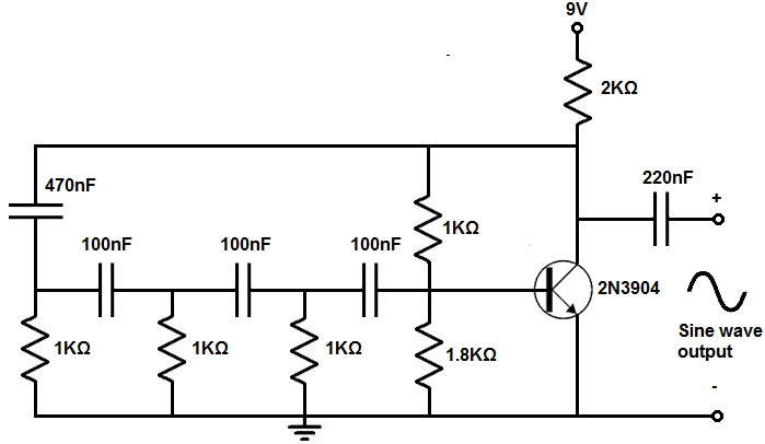 sine wave generator circuit with a transistor