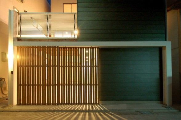 This wood slat door over sliding glass doors is awesome! | Abode ...