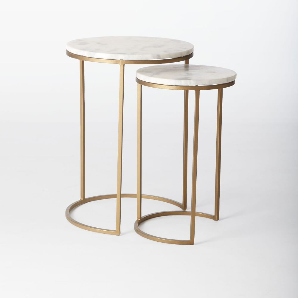 Round Nesting Side Tables Set - Marble/Antique Brass   Baltic St ...