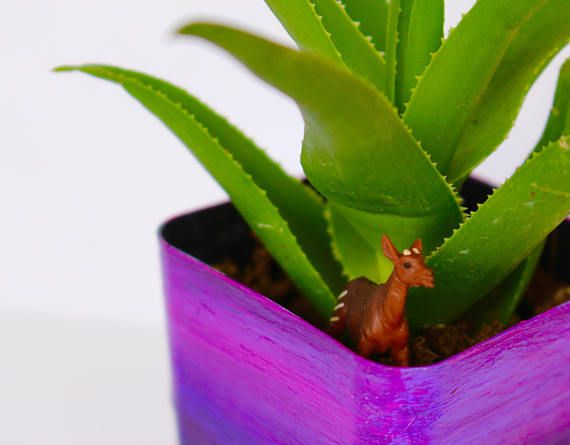 Original Purple Handpainted Planter with Succulent and Tiny Antelope Statuette