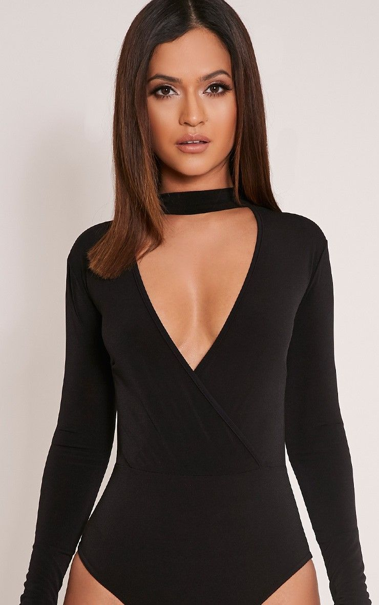 Black Cold Shoulder Frill Ribbed Bodysuit Pretty Little Thing Online Discount Supply Free Shipping Amazon ZE48xQGv