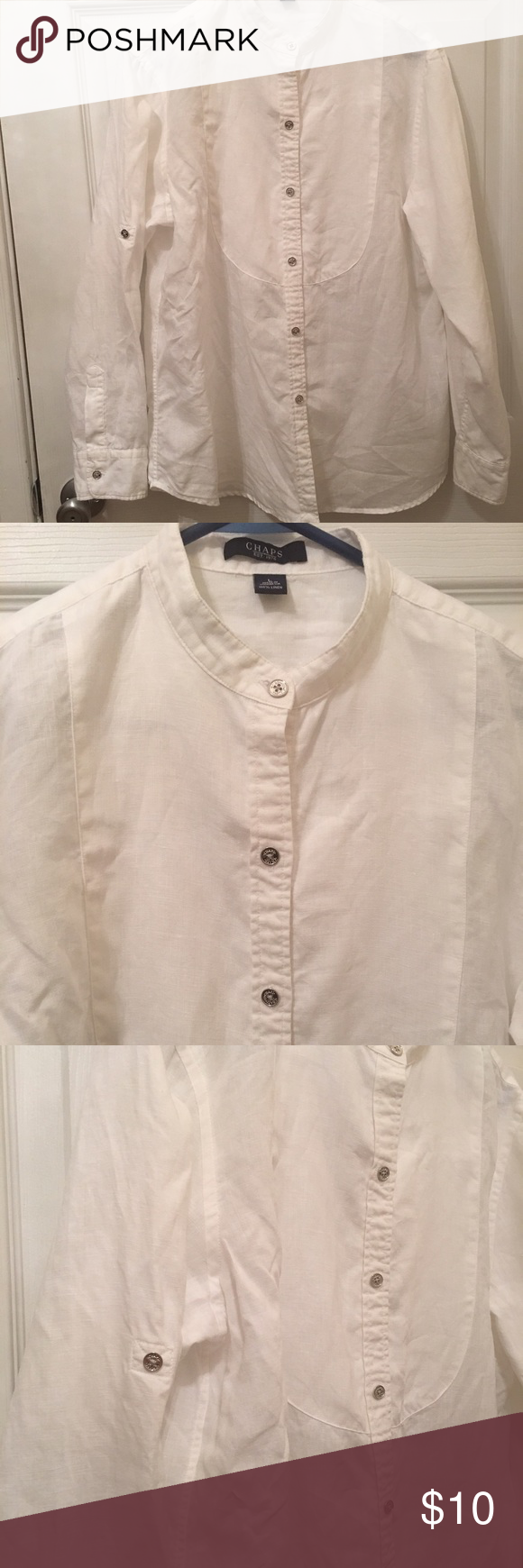 CHAPS SHIRT 100% linen, like new only worn a couple times. Chaps Tops Button Down Shirts