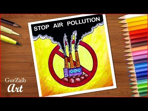 000 Stop air pollution poster chart drawing for school