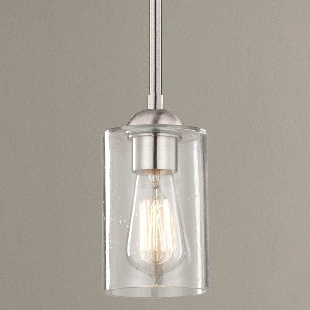 Seeded Glass Satin Nickel Mini Pendant Light At Destination Lighting Mini Pendant Lights Pendant Light Chrome Pendant Lighting