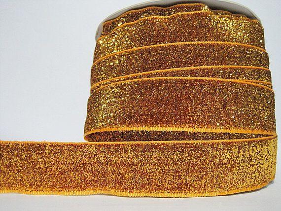 5 Yards 1 Wide Gold Glitter Ribbon Glitter yarn by ichimylove