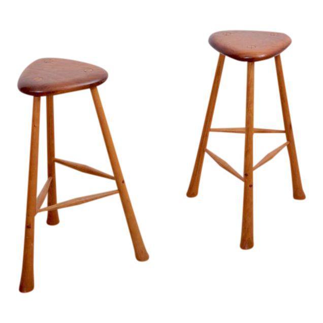 Incredible Pair Of Signed Robert Kopf Studio Bar Stools Usa 1985 In Ibusinesslaw Wood Chair Design Ideas Ibusinesslaworg