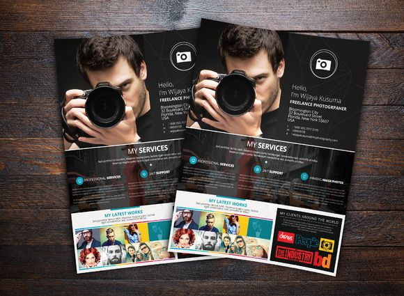 Freelance Photographer Flyer Templat  Photography Flyer Fonts