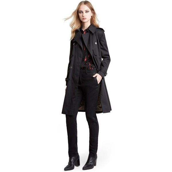 Saint Laurent Double Breasted Trench Coat ($2,990) ❤ liked on Polyvore featuring outerwear, coats, black, black double breasted coat, black trenchcoat, yves saint laurent, double-breasted coat and belted trench coat