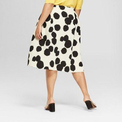"92a4ba45ed164 Women s Plus Size Floral Print Birdcage Midi Skirt - Who What  Wearâ"" 20Black Red 26W  Print"