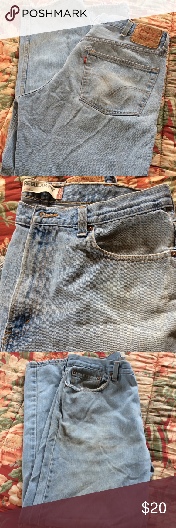 d504244f0733 Men s Levi Worn Jeans Nicely worn jeans with fray and some dirt stains.  Great jeans 503 in 38 x 32 Levi s Jeans