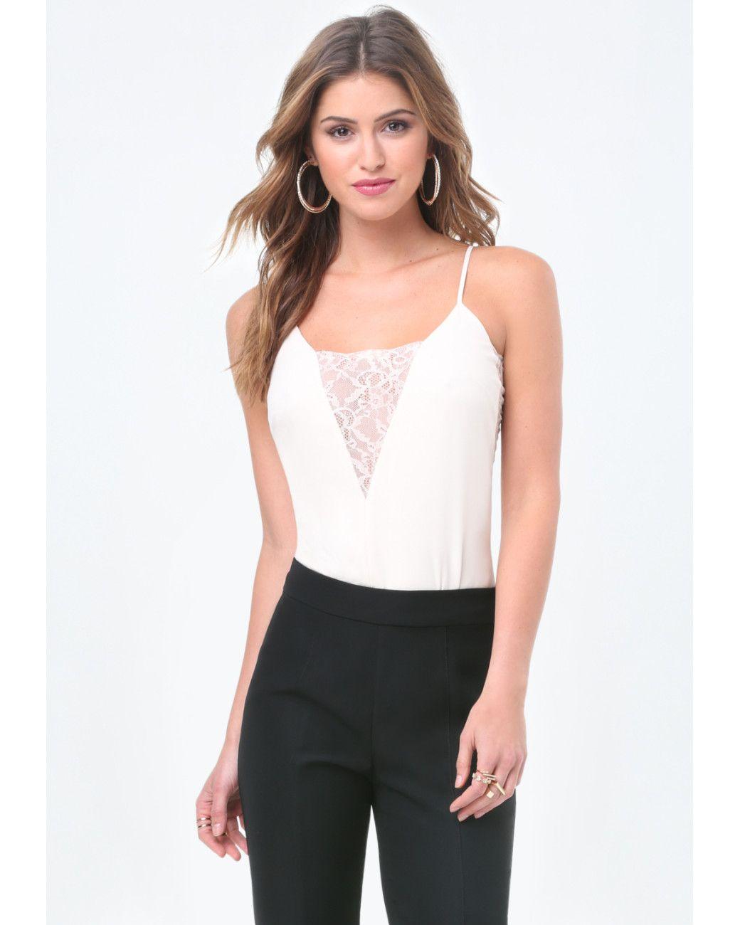 60d6dd01b87 Women s White Lace Inset Plunge Bodysuit