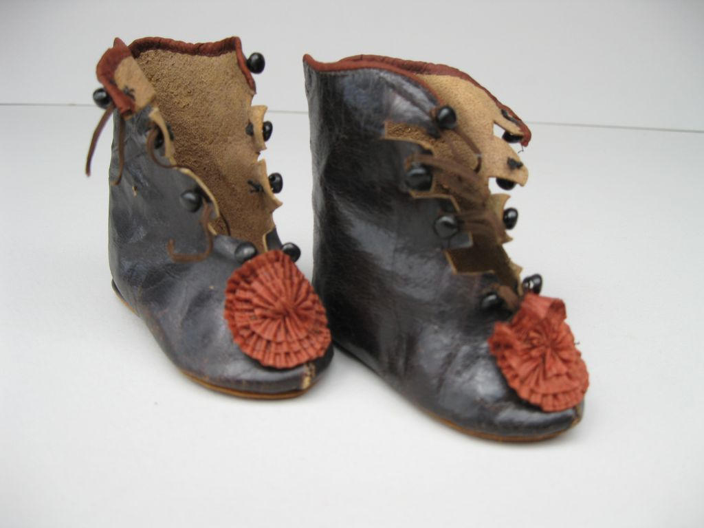 Antique French Doll Boots For Jumeau, F.G., Steiner