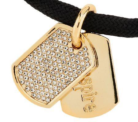 Stella Valle Swarovski Crystal DogTag Bracelet by Lori Greiner QVC
