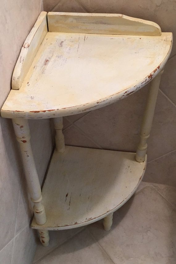 Small Corner Table 2 Tier Corner Shelf Shabby But Chic Bathroom Side Table White Kitchen Cream Distressed Wood Painted Accent Handy Etagere Small Corner Table Corner Table Small Corner Decor
