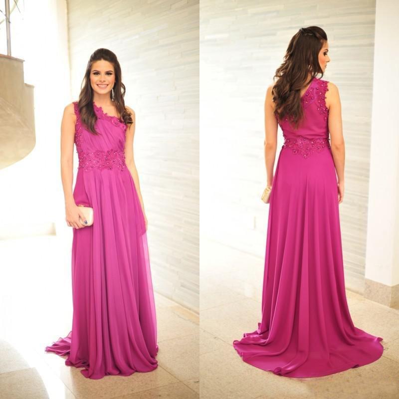 2015 Prom Dresses,Fuschia Prom Dresses,One Shoulder Evening Dresses ...