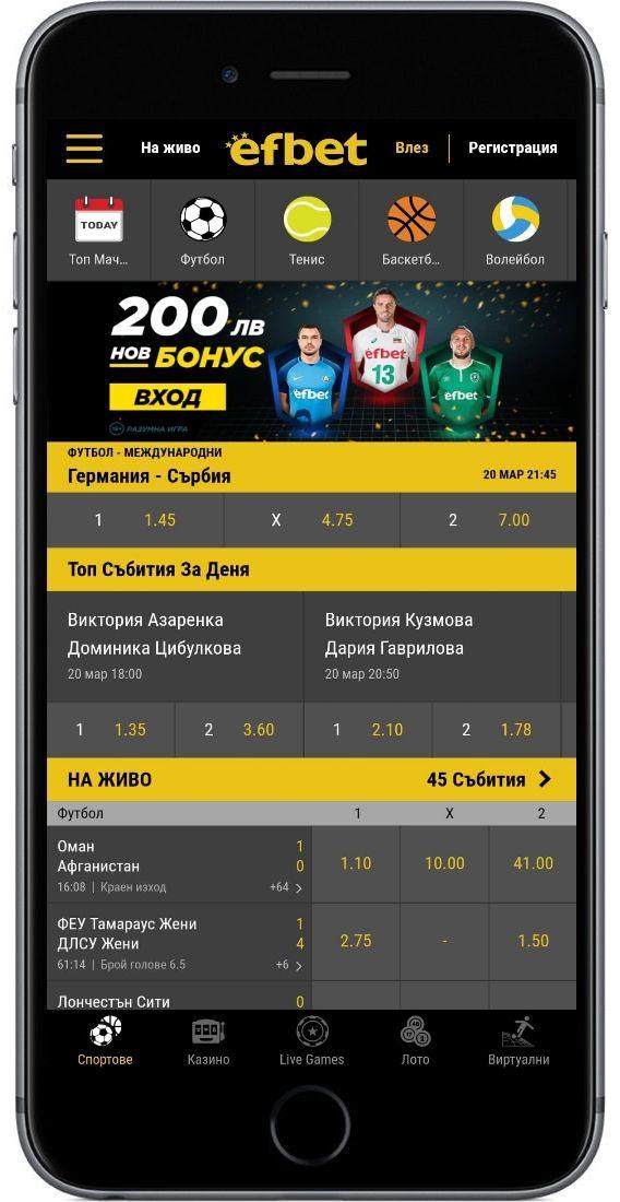 Ефбет мобилна версия за Android и IOS! Android, Iphone, Ios