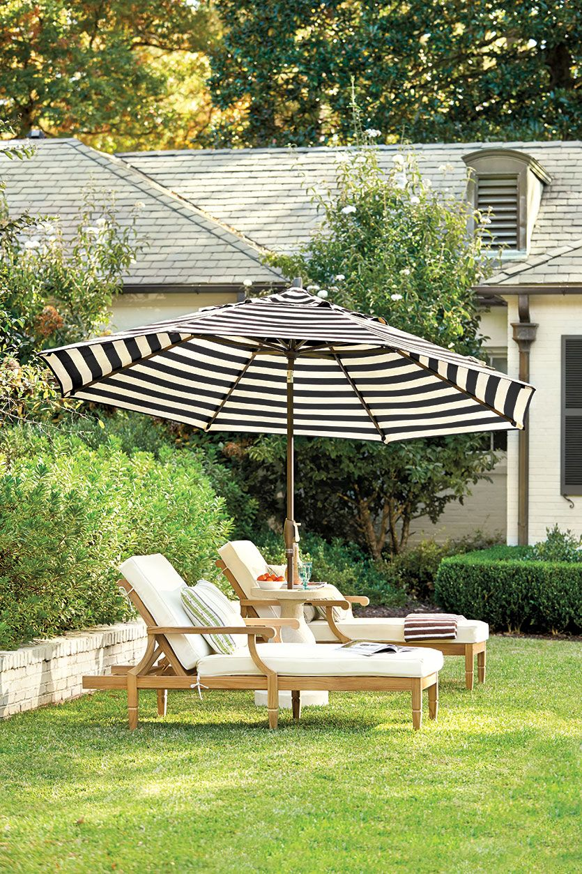 Black And White Striped Patio Umbrella   10 Ways To Make A Big Outdoor  Statement Patio