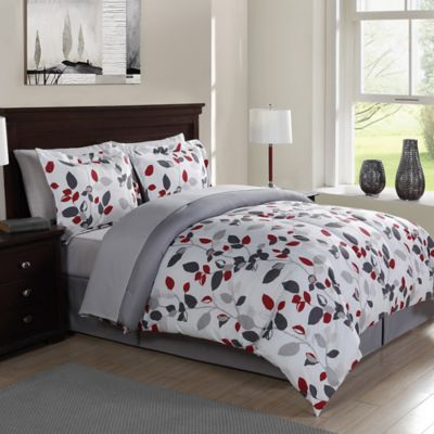 buy modern branch 7piece queen comforter set in grey from bed bath u0026 beyond