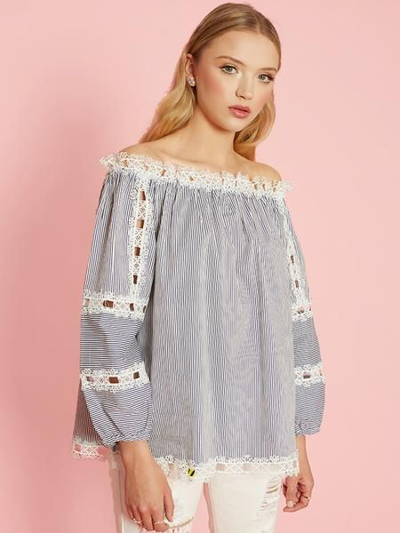 Dahlia Blossom White & Navy Striped Off The Shoulder Top with Lace Trims