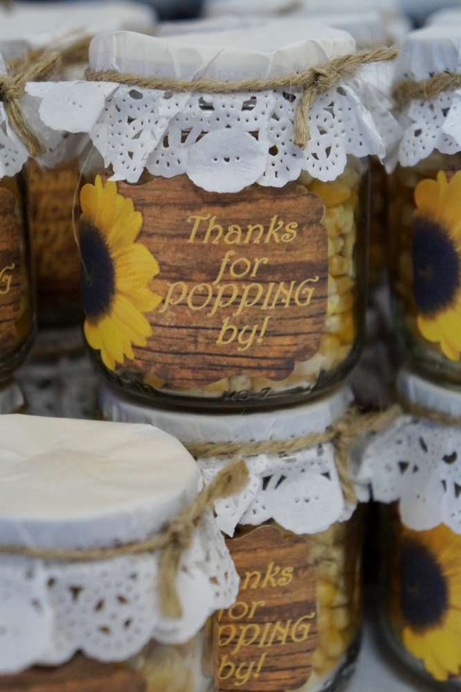 popcorn favors at a sunflower bridal shower party see more party ideas at catchmypartycom